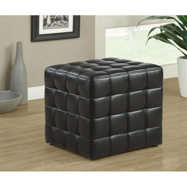 Black Leather-Look Ottoman