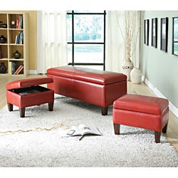 Ibrahim Red Storage Bench and Ottomans