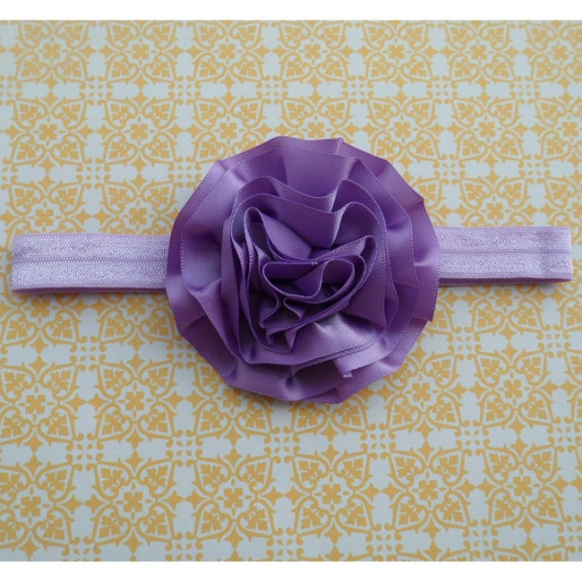 Soft and Stretchy Purple Satin Flower Headband