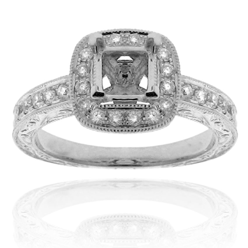 14k White Gold 1/3ct TDW Semi-mount Round Diamond Engagement Ring (G-H, SI-1/SI-2)