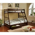 Furniture of America Junior Roomates Twin over Full Bunk Bed with 2-Drawers Set