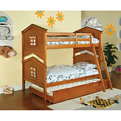 Tree House 3-Piece Twin Over Twin Bunk with Trundle & Chest