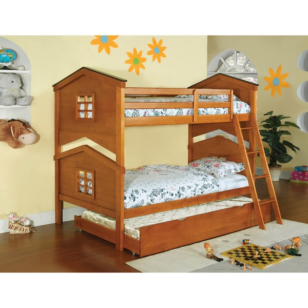 Furniture of America Tree House 2-Piece Twin Over Twin Bunk with Trundle Set