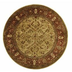 Handmade Persian Legend Gold/ Rust Wool Rug (3'6 Round)