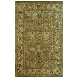Handmade Persian Legend Light Green/ Beige Wool Rug (5' x 8')