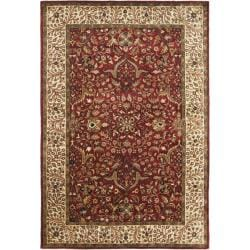 Handmade Persian Legend Oriental Red/Ivory Wool Rug (5' x 8')