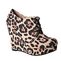 Refresh by Beston Women's 'GENESIS-01' Leopard Wedge Ankle Booties