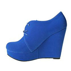 Refresh by Beston Women's 'GENESIS-01' Royal Blue Wedge Ankle Booties
