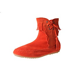 Refresh by Beston Women's 'Mini-02' Orange Fringe Ankle Booties