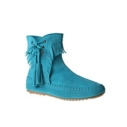 Refresh by Beston Women's 'Mini-02' Turquoise Fringe Ankle Booties