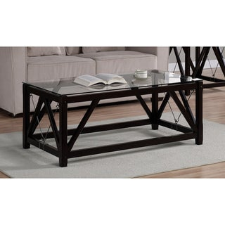 Cable Black Wood/ Glass Coffee Table