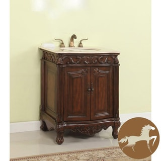Christopher Knight Home Brown Wood Cream Marble Bathroom Sink Vanity
