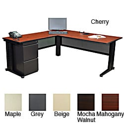 Regency Seating Fusion 72-inch Single Pedestal L-Desk with 48-inch Return