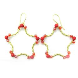 Gold Star Daze Red Coral Stone Dangle Brass Earrings (Thailand)