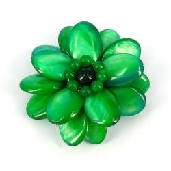 Superb Green Lotus Mother of Pearl Floral Pin/ Brooch (Thailand)