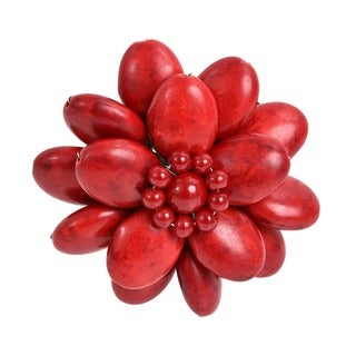 Red Lotus Coral Stone Floral Pin/ Brooch (Thailand)