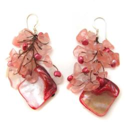 Rose Quartz Cluster Shell Drop Sterling Silver Earrings (Thailand)