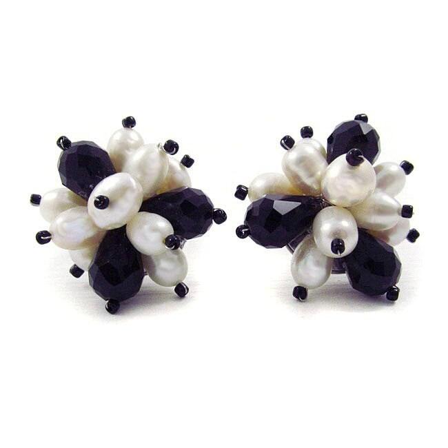 Floral Burst Freshwater White Pearl/ Crystal Earrings (Thailand)