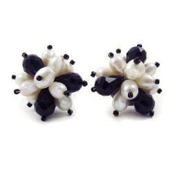 Floral Burst Freshwater White Pearl/ Crystal Earrings (Thailand)