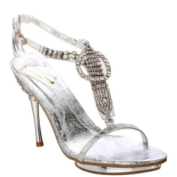 Celeste Women's 'Joyce-06' Silver T-strap Sandals