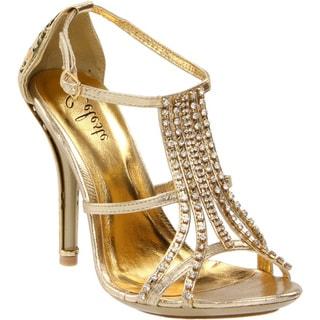 Celeste Women's 'Sasa-02' Gold Rhinestone/ Flower T-straps