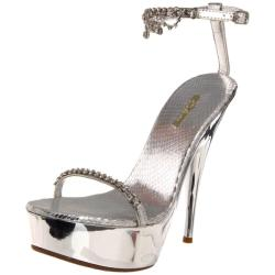 Celeste Women's 'Nicole-08' Silver Crystal-draped Platforms