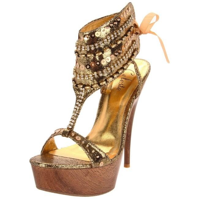 Celeste Women's 'Jucci-02' Gold Wood Platforms