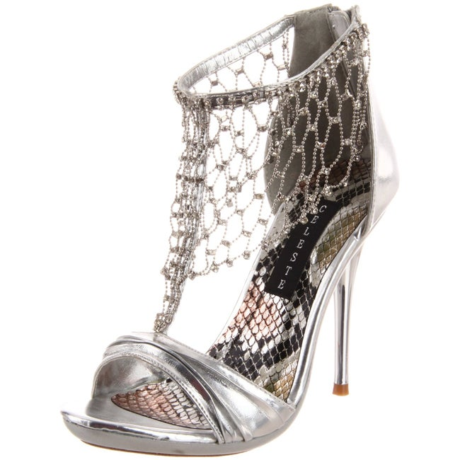 Celeste Women's 'Hana-14' Silver Back-zip Sandals