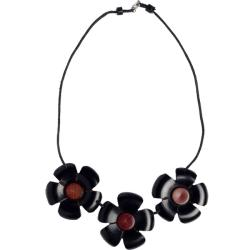 African Blackwood and Pink Ivory Wood Three Flower Necklace (Mozambique)