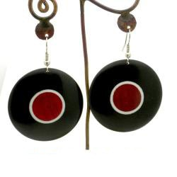 African Blackwood & Pink Ivory Wood Disk Earrings (Mozambique)