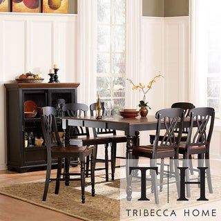 TRIBECCA HOME Mackenzie 7-piece Country Black Dining Table Set