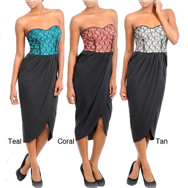 Stanzino Women's Two-tone Lace Top Overlap Skirt Dress