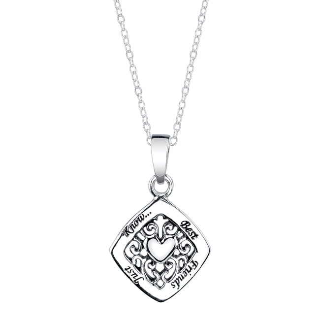 Sterling Silver 'Best Friends Just Know' Heart Necklace
