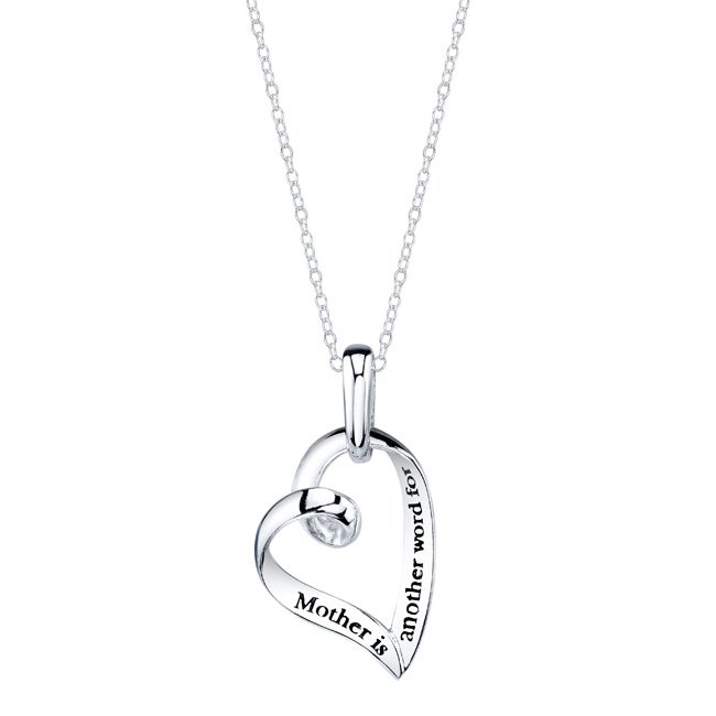 Sterling Silver 'Mother is Another Word for Love' Ribbon Heart Necklace