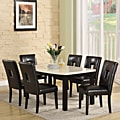 Mendoza Black Upholstered Keyhole Back 7-piece Dining Set