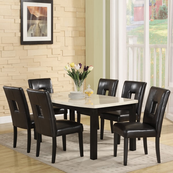 home mendoza black upholstered keyhole back 7 piece dining set