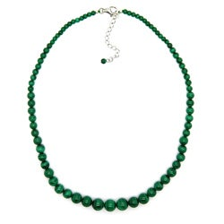 Pearlz Ocean Sterling Silver Round Green Malachite Bead Journey Necklace