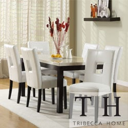 TRIBECCA HOME Mendoza White 7 Piece Modern Casual Dining Set