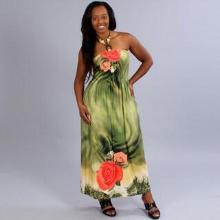 Meetu Magic Plus Size Floral Print Maxi with Beaded Halter Neckline