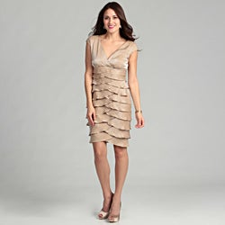 London Times Women's 'Shimmer' Champagne Dress