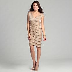London Times Women's 'Shimmer' Champagne Dress