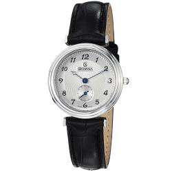 Grovana Women's 3276.1532 Silver Dial Black Leather Strap Quartz Watch