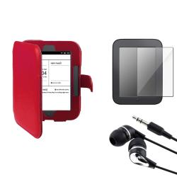 INSTEN Red Leather Phone Case Cover/ Screen Protector/ Headset for Barnes & Noble Nook 2