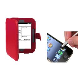 INSTEN Red Synthetic-Leather Phone Case Cover and Stylus for Barnes & Noble Nook 2