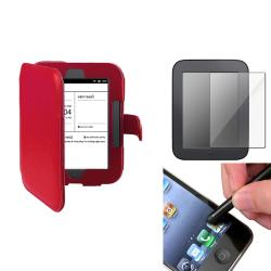 INSTEN Red Leather Phone Case Cover/ Screen Protector/ Stylus for Barnes & Noble Nook 2