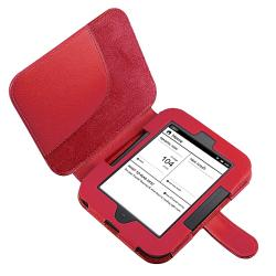 Four-Piece Red Synthetic-Leather Case/ Screen Protector/ Car Charger/ Cable for Barnes & Noble Nook 2