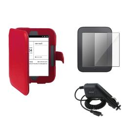 Leather Case/Screen Protector/Car Charger Bundle for Barnes & Noble Nook 2