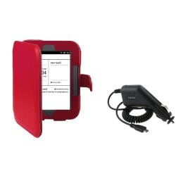 Leather Case/ Car Charger for Barnes & Noble Nook Simple Touch