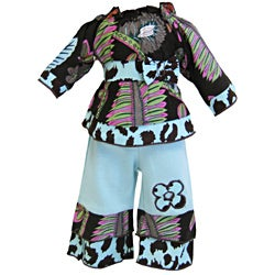 AnnLoren 2-piece Lush Floral abd Cheetah Outfit for American Girl Doll