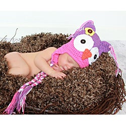 Handmade Girl's Pink and Purple Owl Hat